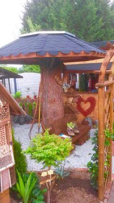 Ein alter Baumstumpf  mit Achteckdach Alter, Gazebo, Outdoor Structures, Garden, Projects, Wood, Kiosk, Garten, Pavilion