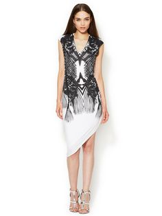 Spiny Fish Jersey Asymmetrical Dress by Helmut by Helmut Lang at Gilt