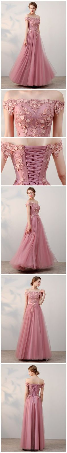 CHIC A-LINE OFF-THE-SHOULDER PINK APPLIQUE TULLE MODEST LONG PROM DRESS EVENING DRESS AM230