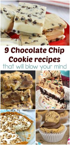 9 chocolate chip cookie recipes that will blow your mind Cookie Desserts, Chocolate Desserts, Just Desserts, Chocolate Chip Cookies, Cookie Recipes, Delicious Desserts, Dessert Recipes, Yummy Food, Chocolate Lovers