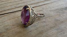Vintage filigree Purple ring purple glass by Andiesvintage on Etsy