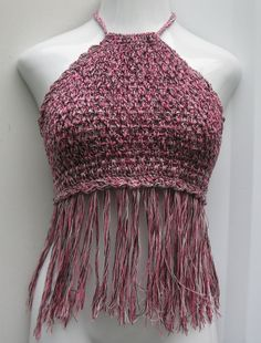 Halter top with fringe