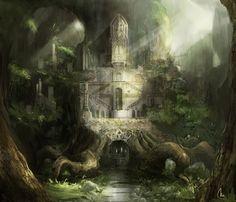 Art by Mio Del Rosario. Fantasy City, Fantasy Castle, Fantasy Kunst, Fantasy Places, Sci Fi Fantasy, Fantasy World, Dark Fantasy, Elven City, Fantasy Setting
