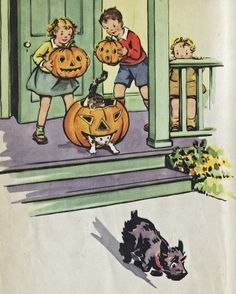 What a darling vintage Halloween illustration (love the kitty climbing through the jack-o-lantern!). #vintage #book #children #kids #Halloween #1940s by wmom