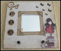 Marco fotos Decoupage On Canvas, Ikea Mirror, Malm, Canvas Frame, Painting On Wood, Cardmaking, Picture Frames, Diy Crafts, Projects