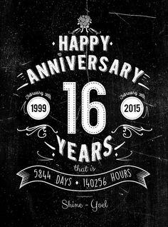 16th Anniversary Gift 16 Years Of Wedding Anniversary Anniversary
