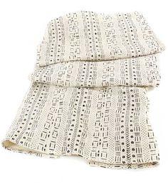 White Mudcloth Throw Blanket - Home Decor Handmade in Africa - Swahili Modern - 1