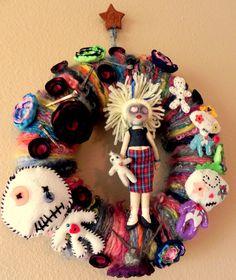 This is toooo cute! Halloween Wreath New Orleans Voodoo Yarn Wreath ...OOAK Handmade Fall Halloween Cloth Art Dolls, Handspun Yarn, Real Coffin Nails. $89.95, via Etsy.