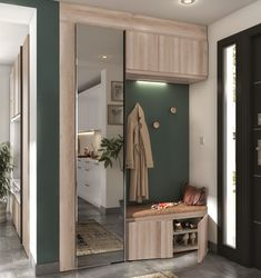 Locker room entry with storage hook and closet made in France Home Entrance Decor, House Entrance, Hall Furniture, Home Decor Furniture, Armoire Entree, Minimal House Design, Corridor Design, Home Room Design, Teen Room Decor