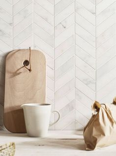 East Haven Chevron white grey marble mosaic shown on the wall - Claybrook Chevron Bathroom, Chevron Tile, Herringbone Tile, Chevron Kitchen, Chevron Walls, Chevron Floor, Kitchen Splashback Tiles, Kitchen Flooring, Countertop Backsplash