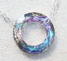 Swarovski Crystal Cosmic Infinity Ring Necklace