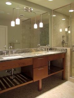 bathroom vanity - mounted w/ pendants