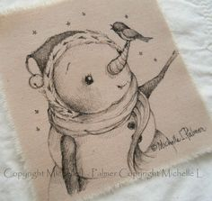 Sweet little friends find their way into my heart and I love to sketch them for you!    Original pen & ink illustrations on fabric. December 2014