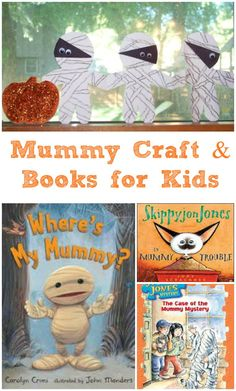 Create your own Mummy Chain Garland -- great fine motor craft for kids! Plus fun mummy books too.