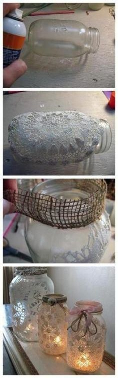 DIY Lanterns: DIY Burlap and Doily Luminaries. For all my extra mason jars and doilies. Holiday Crafts, Home Crafts, Fun Crafts, Christmas Crafts, Arts And Crafts, Christmas Lanterns, Handmade Christmas, Holiday Decor, Mason Jar Projects