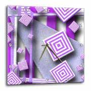 Different Shades of Purple with Floating Squares and Stripes with Textures and Grains  Wall Clock