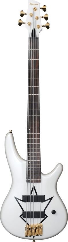 #Ibanez PIB2 #Bass #Guitar : Peter Iwers' bass playing in the band In Flames is as aggressive and ruthless as you can get, and this rock bass is built to take anything that comes its way. Just one look at its 5pc Maple/Bubinga neck, Maple body, and dramatic inlay over a Pearl White finish is all it takes to realize that this bass is a true battle axe.