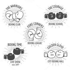 Vintage boxing logo set by Microvector on Boxing Logo, Boxing Club, Boxing Boxing, Logo Club, Boxing Tattoos, Minimal Logo Design, Graphic Design, Sport Icon, Badge Logo