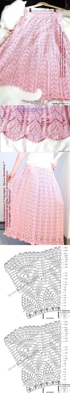 Crochet lace skirt ~~ Юбка связанная крючком узором листики. | вязание | Постила