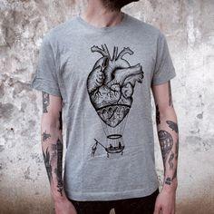 ANATOMICAL heart / hot air BALLOON man's t-shirt. Screen printedhandmade design,vintage tattoo print. Melange grey. gift for him. mens shirt