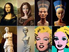 Jocelyne Grivaud has copied the art classics through Barbie. I can't imagine a better way of showing why Barbie is NOT a beauty ideal :-D Dora Maar, Tilda Swinton, Brigitte Bardot, Andy Warhol, Art Room Posters, Appropriation Art, Mona Lisa, Pop Art, Barbie Basics