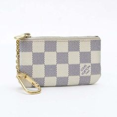 Louis Vuitton Pochette Cles Damier Azur Wallets White Canvas N62659