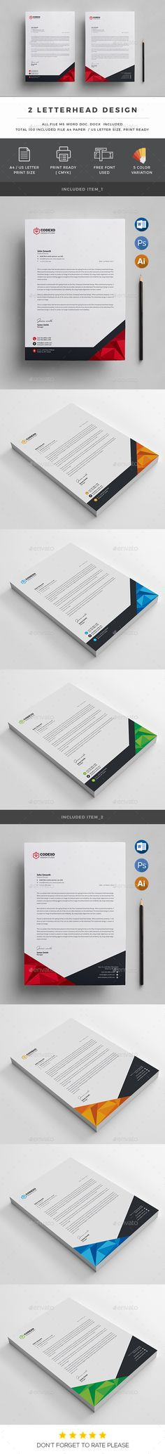 #Letterhead - #Stationery Print #Templates Download here:  https://graphicriver.net/item/letterhead/19497443?ref=alena994