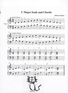 C Major Scale and Chords, Let's Play Music Vocal Lessons, Music Lessons For Kids, Music For Kids, Piano Lessons, Music Score, Music Ed, Easy Piano Sheet Music, Piano Music, Scale Music