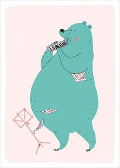 Bear playing Music Poster for Kids, Illustration by Mr Le Bagousse Illustration Mignonne, Children's Book Illustration, Character Illustration, Kawaii, Kids Prints, Art Wall Kids, Drawing For Kids, Concert, Bears
