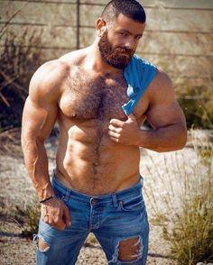 Beard and ripped denim jeans and hairy chest Hairy Men, Bearded Men, Body Builder, Hot Beards, Rugged Men, Beefy Men, Muscle Bear, Hairy Chest, Muscular Men