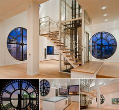 One Main Street, Brooklyn, New York  Clock Tower penthouse, also known as Esquire Bachelor Pad of the Year, it includes a hologram in-residence named Charlotte! Four 14 foot glass clock windows (Cool!!) complete the look.