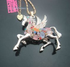 betsey johnson cat purse | Betsey Johnson Crystal Cat's Eye Opals Pegasus Horse Pendant Long ...