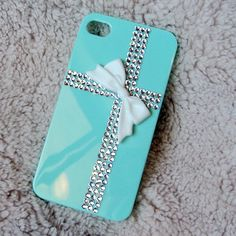 Teal Tiffany Present Style Apple Iphone 4 4s case, whith Rhinestone Crystal Fackback! totally getting!