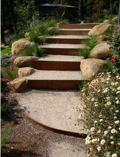 Corten steel used in outdoor stairs - cool! Maybe with river rocks instead. Like the metal edging to match. Corten Steel Garden, Garden Retaining Wall, Sloped Garden, Retaining Walls, Steel Retaining Wall, Metal Garden Edging, Garden Paths, Outdoor Steps, Outdoor Landscaping
