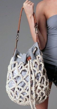 59 Ideas diy fashion bags tuto sac for 2020 Crochet Shell Stitch, Bead Crochet, Crochet Handbags, Crochet Purses, Diy Sac, Latest Handbags, Diy Mode, Macrame Bag, Macrame Knots