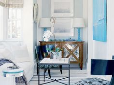 Love the blue lamps and want an orchid in the house
