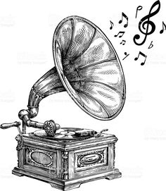 Hand-drawn vintage gramophone with music notes. Vector illustration royalty-free stock vector art