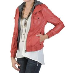 Want it! Please! ♥ Hailey Jeans Co Juniors Faux Leather Hooded Jacket Hailey Jeans Co.,http://www.amazon.com/dp/B00991W1GW/ref=cm_sw_r_pi_dp_R8AZrb0Q2DY0VMFJ