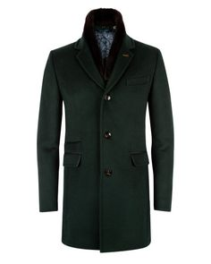 Shearling collar coat - Dark Green | Luxury with Personality | Ted Baker