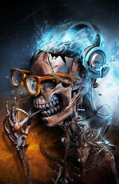 35 Fantastic Photo Manipulation Artworks Of The Human Skull Dark Fantasy Art, Dark Art, Totenkopf Tattoos, Skull Pictures, Skull Artwork, Skull Wallpaper, Mobile Wallpaper, Airbrush Art, Psychedelic Art