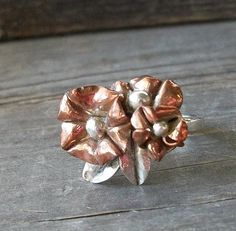 Fold Formed Copper and Sterling Silver by KellyCoCreativeArts, $70.00