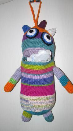 handmade crochet MONSTER plastic grocery BAG HOLDER recycling unique fun OOAK #Handmade