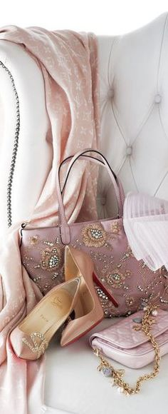 Pink silk shawl, fabulous pink jeweled purse and pink silk pumps.my pink heaven. So feminine. Just Girly Things, Pink Things, Color Mauve, Everything Pink, Color Rosa, Dusty Rose, Dusty Pink, Girly Girl, Pink And Gold