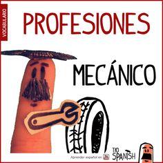 El mecánico / La mecánico --- Profesiones en español, vocabulario español incial- intermedio