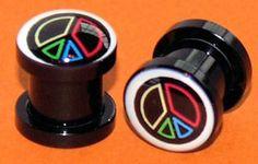 Pair of 0 Gauges Multi-Color Peace Flesh Plugs 8mm