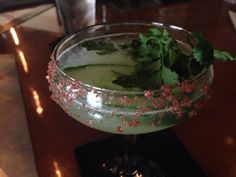The 136 at Ball & Biscuit. Cucumber vodka, Chartreuse, lemon, honey, soda, cllantro, red salt.