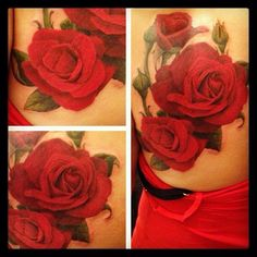 I'm not the rose tattoo fan and color tattoo fanatic, but this one is really pretty! Realistic