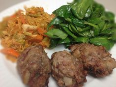 Ground Pork, Bacon, Cilantro, and Ginger Meat Balls with Spinach and Kimchi: 3/6/13