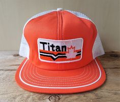 b47d4ac7346a1 Vintage 80s TITAN Canada Oilfield Mesh Trucker Hat Snapback Orange Baseball  Cap  BaseballCap Vintage Trucker