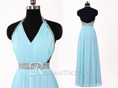 2015 Blue Chiffon V Neck Long Prom Dress With Sequins, Long Bridesmaid Dress Formal, Backless Blue Sexy Evening Dress